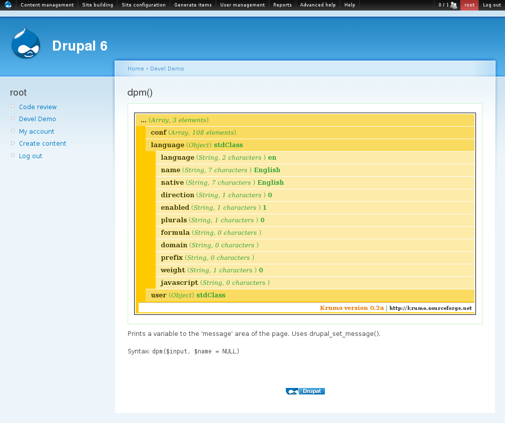dpm() screenshot